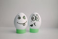 Eggs funny with a face giving up love, kissing