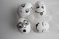 Eggs are funny with faces. Concept best friends