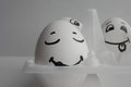Eggs funny with faces Concept sleep among noise