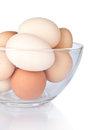 Eggs in glass plate isolated Royalty Free Stock Photo