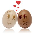 Eggs in love two with heart romance Royalty Free Stock Images