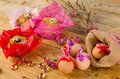 Eggs and mona de pascua still life with easter small cakes Royalty Free Stock Image