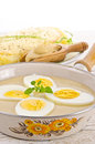 Eggs in mustard sauce Stock Images