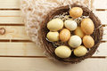 Eggs in a nest yellow egg concept food on wood background Stock Photo