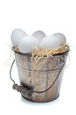 Eggs in an Old Fashioned Bucket Royalty Free Stock Image