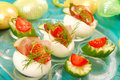 Eggs with parma ham for easter Stock Images