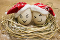 Eggs with persons in the nest for christmas happy Stock Photo