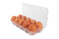Eggs in plastic box isolated isolated on a white Stock Photos