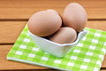 Eggs in a porcelain bowl Royalty Free Stock Photography