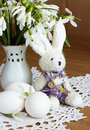 Eggs, rabbit and snowdrops Royalty Free Stock Photos