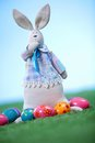 Eggs and rabbit vertical image of colorful painted easter toy Royalty Free Stock Photography