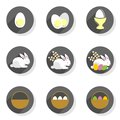 Eggs rabbits willow twigs basket flat modern icon set Royalty Free Stock Photo
