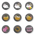 Eggs rabbits willow twigs flat modern icon set Royalty Free Stock Photo