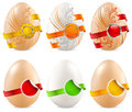 Eggs with ribbon & label Stock Photos