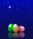 Eggs and stars easter on a background of the star sky eps Royalty Free Stock Images