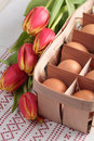 Eggs and tulips Royalty Free Stock Photo