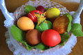 Eggs in a wicker basket with a butterfly
