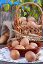 Eggs in wooden bowl with a little basket and linen sack background Royalty Free Stock Photo