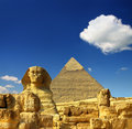 Egypt Cheops pyramid and sphinx Royalty Free Stock Photos