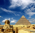 Egypt Cheops pyramid and sphinx Royalty Free Stock Photo