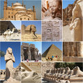 Egypt collage touristic highlights with most interesting sites Stock Photos