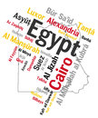 Egypt map and cities of text design with major Royalty Free Stock Photos