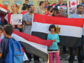 Egypt protest mississauga k a crowd of a hundred or so egyptian protesters in canada on july th speaking out against the coup and Royalty Free Stock Photography