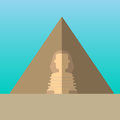 Egypt pyramids and Great Sphinx in Giza vector illustration. Royalty Free Stock Photo