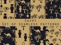 Egypt. Set of seamless patterns. Symbols of Egypt. Ornament. Vec Royalty Free Stock Photo