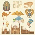 Egypt vector set. Modern hipster style. Egyptian traditional icons in flat design. Vacation and summer