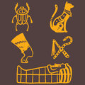 Egypt travel history sybols hand drawn design traditional hieroglyph vector illustration style.
