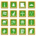 Egypt travel items icons set green