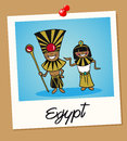 Egypt travel polaroid people egyptian man and woman cartoon couple in vintage instant photo frame vector illustration layered for Royalty Free Stock Images