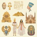 Egypt vector set with sphinx. Egyptian traditional icons in flat design. Vacation and summer Royalty Free Stock Photo
