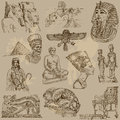 Egypt traveling series ancient collection of an hand drawn illustrations description each drawing comprise of two or three layer Stock Photos