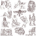 Egypt traveling series ancient collection of an hand drawn illustrations description full sized hand drawn illustrations isolated Stock Images