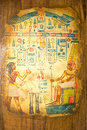 Egyptian art on papyrus ancient hand painting Royalty Free Stock Photos