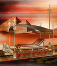 Egyptian boat and pyramids ancient on the desert Stock Photography