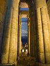 Egyptian columns at night Stock Photos