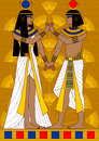 Egyptian couple illustration of woman and man holding hand in hand Stock Photo