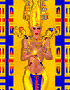 Egyptian fantasy art of a mysterious and powerful mystic woman two snake headed scepters glowing light add to the mystery Stock Image