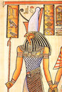 Egyptian god horus ancient with hand painting on papyrus Stock Photography