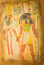 Egyptian god horus on papyrus ancient hand painting Stock Photography