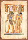 Egyptian god horus with queen cleopatra ancient hand painting on papyrus Stock Image
