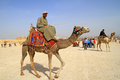 Egyptian guide offering to tourists camel ride Royalty Free Stock Photography