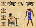 Egyptian hieroglyphics ancient fresco egypt Stock Image