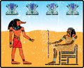 Egyptian hieroglyphics ancient fresco egypt Stock Photo