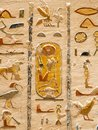 Egyptian Hieroglyphics in valley of Kings close up detail Royalty Free Stock Photo
