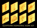 Egyptian isometric icon set. Symbols of Egypt. Tourism and adventure. Vector Royalty Free Stock Photo