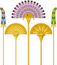 Egyptian large fans illustration of an isolated on white background Royalty Free Stock Photography